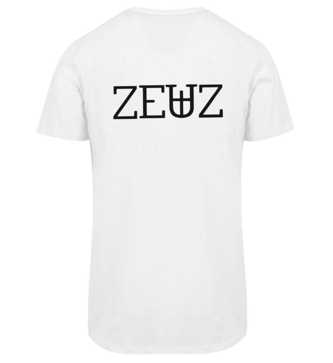 ZEUZ RAVE-ON! ®️ WHITE LONGTEE TSHIRT - Herren Long Tee Men Long Tee White / S - Rave On!® der Club & Techno Szene Shop für Coole Junge Mode Streetwear Style & Fashion Outfits + Sexy Festival 420 Stuff