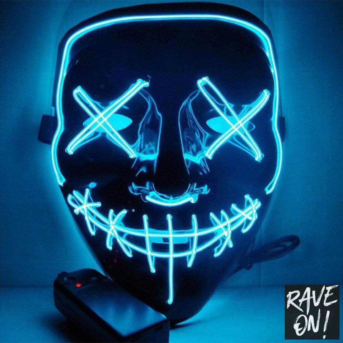 LED Grimassen Maske-Ice Blau-Rave-On!