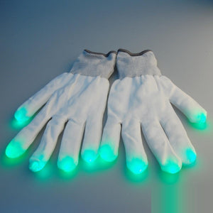 LED Raver Handschuhe in Weiß-Rave-On! I www.rave-on.shop I Deine Rave & Techno Szene Shop I finger, glove, gloves, glow, glowing, hand, handschuhe, led, led schuhe, leuchtet, light, light up, lightup, nacht, party, rave, rave gear, rave lights, raveon, raver, weiß, winter - Sexy Festival Streetwear , Clubwear & Raver Style