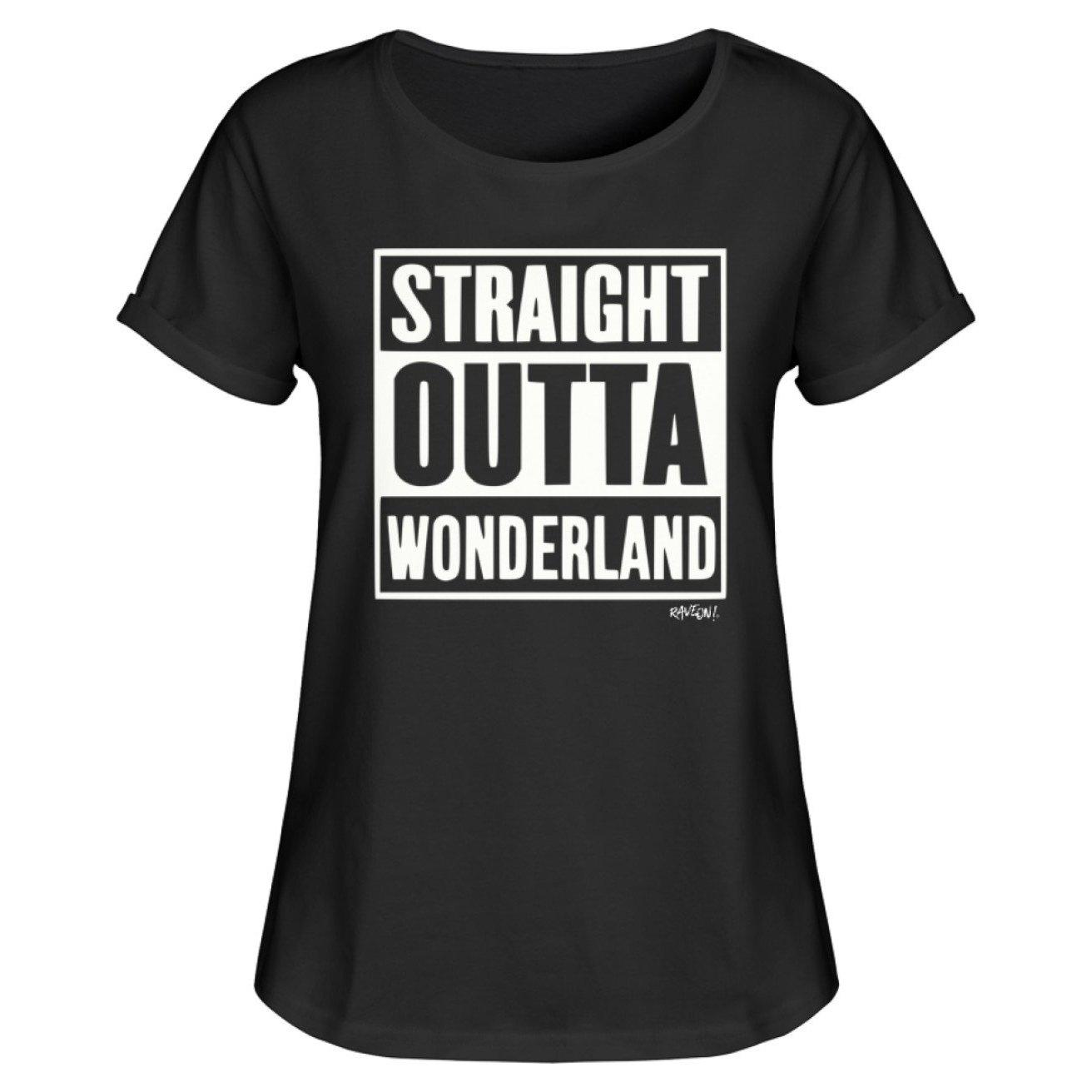 STRAIGHT OUTTA WONDERLAND - Rave On!® - Damen RollUp Shirt Women Rollup Shirt Black / S - Rave On!® der Club & Techno Szene Shop für Coole Junge Mode Streetwear Style & Fashion Outfits + Sexy Festival 420 Stuff