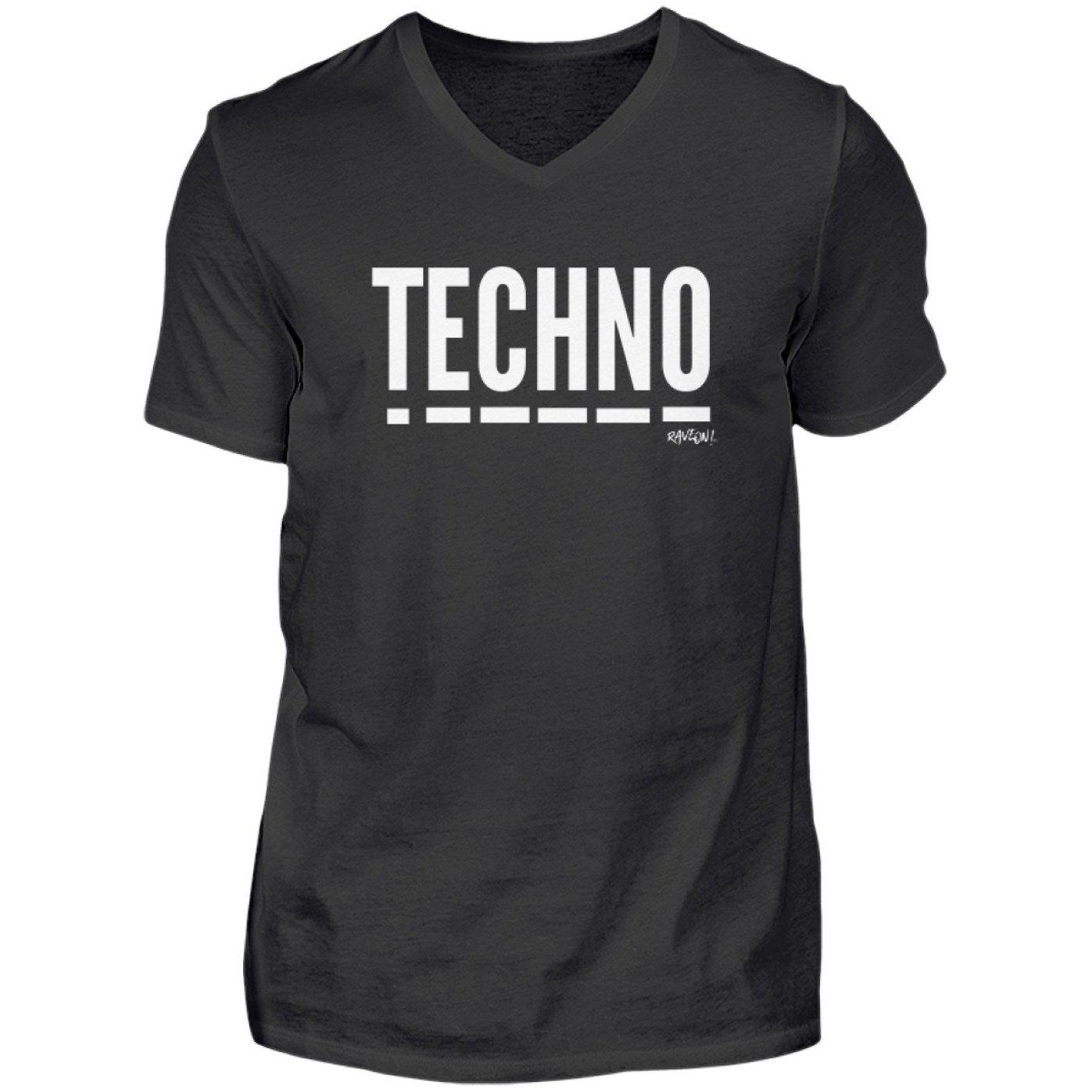 Techno Music - Rave On!® - Herren V-Neck Shirt V-Neck Herrenshirt Black / S - Rave On!® der Club & Techno Szene Shop für Coole Junge Mode Streetwear Style & Fashion Outfits + Sexy Festival 420 Stuff