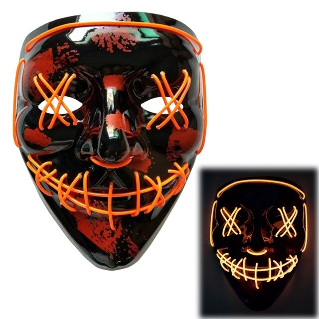 Light Up LED Mask - Rave Mask - Festival Mask Mask Orange - Rave On!® the club & techno scene shop for cool young fashion streetwear style & fashion outfits + sexy festival 420 stuff