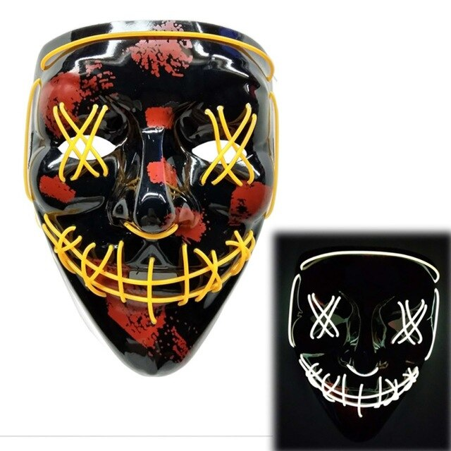 Light Up LED Mask - Rave Mask - Festival Mask Mask Yellow - Rave On!® the club & techno scene shop for cool young fashion streetwear style & fashion outfits + sexy festival 420 stuff
