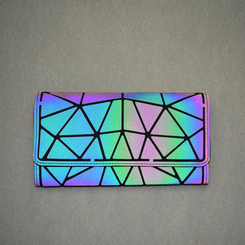 Holographic Luminous Long Wallet - geometric Luminous LUMI Luminous Wallet - Rave On!® the club & techno scene shop for cool young fashion streetwear style & fashion outfits + sexy festival 420 stuff