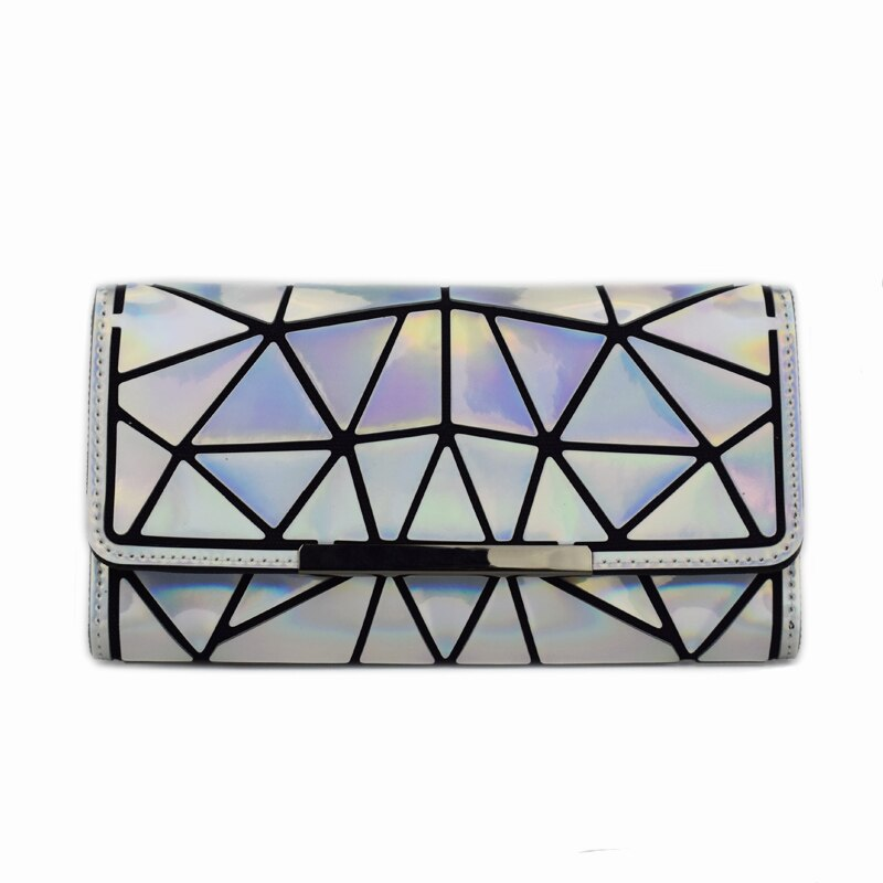 Holographisch leuchtendes Long Wallet - geometric Luminous LUMI Silver Wallet - Rave On!® der Club & Techno Szene Shop für Coole Junge Mode Streetwear Style & Fashion Outfits + Sexy Festival 420 Stuff