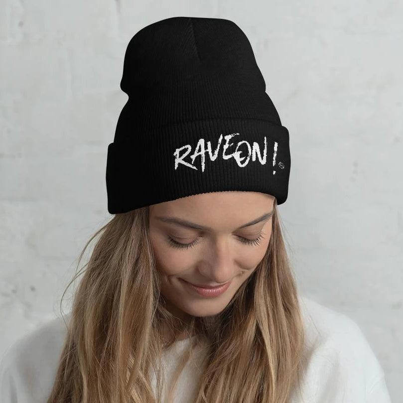 Rave On!® Beanie Hat Black Hat with embroidery Default Title - Rave On!® the club & techno scene shop for cool young fashion streetwear style & fashion outfits + sexy festival 420 stuff