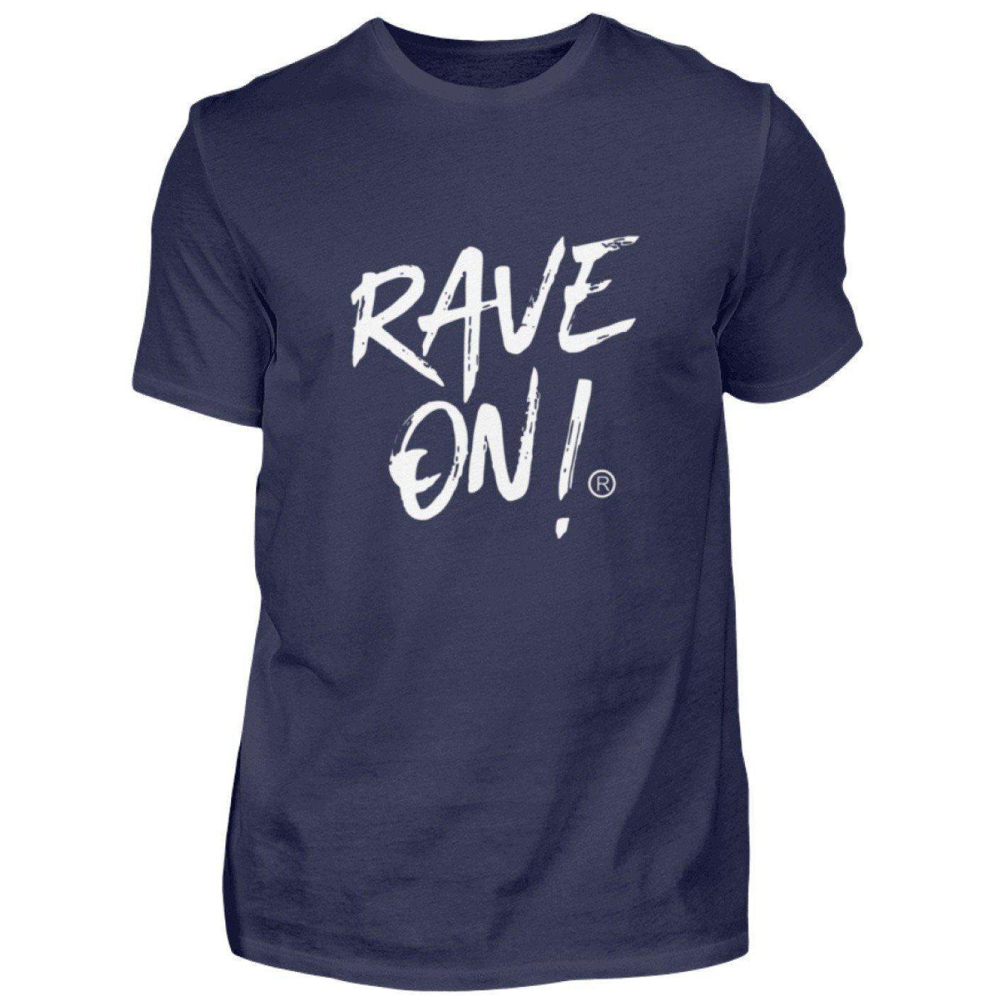 RAVE ON!® Black Collection - Men's Shirt Men's Basic T-Shirt Dark-Blue / S - Rave On!® the club & techno scene shop for cool young fashion streetwear style & fashion outfits + sexy festival 420 stuff