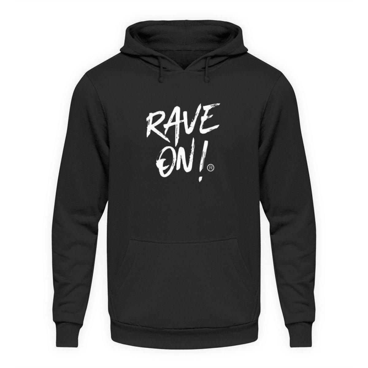 Rave On!® Black Collection - Unisex Kapuzenpullover Hoodie Unisex Hoodie Jet Schwarz / L - Rave On!® der Club & Techno Szene Shop für Coole Junge Mode Streetwear Style & Fashion Outfits + Sexy Festival 420 Stuff
