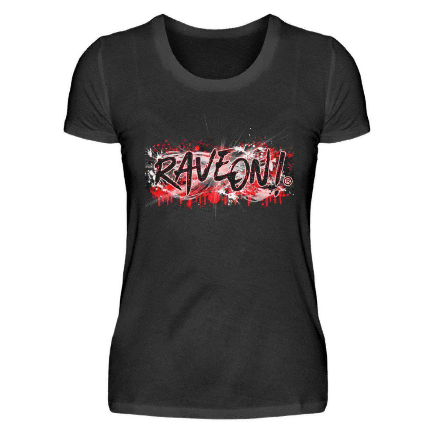 Rave On!® Bloody Graffity - Ladies Shirt Ladies Basic T-Shirt Black / S - Rave On!® the club & techno scene shop for cool young fashion streetwear style & fashion outfits + sexy festival 420 stuff