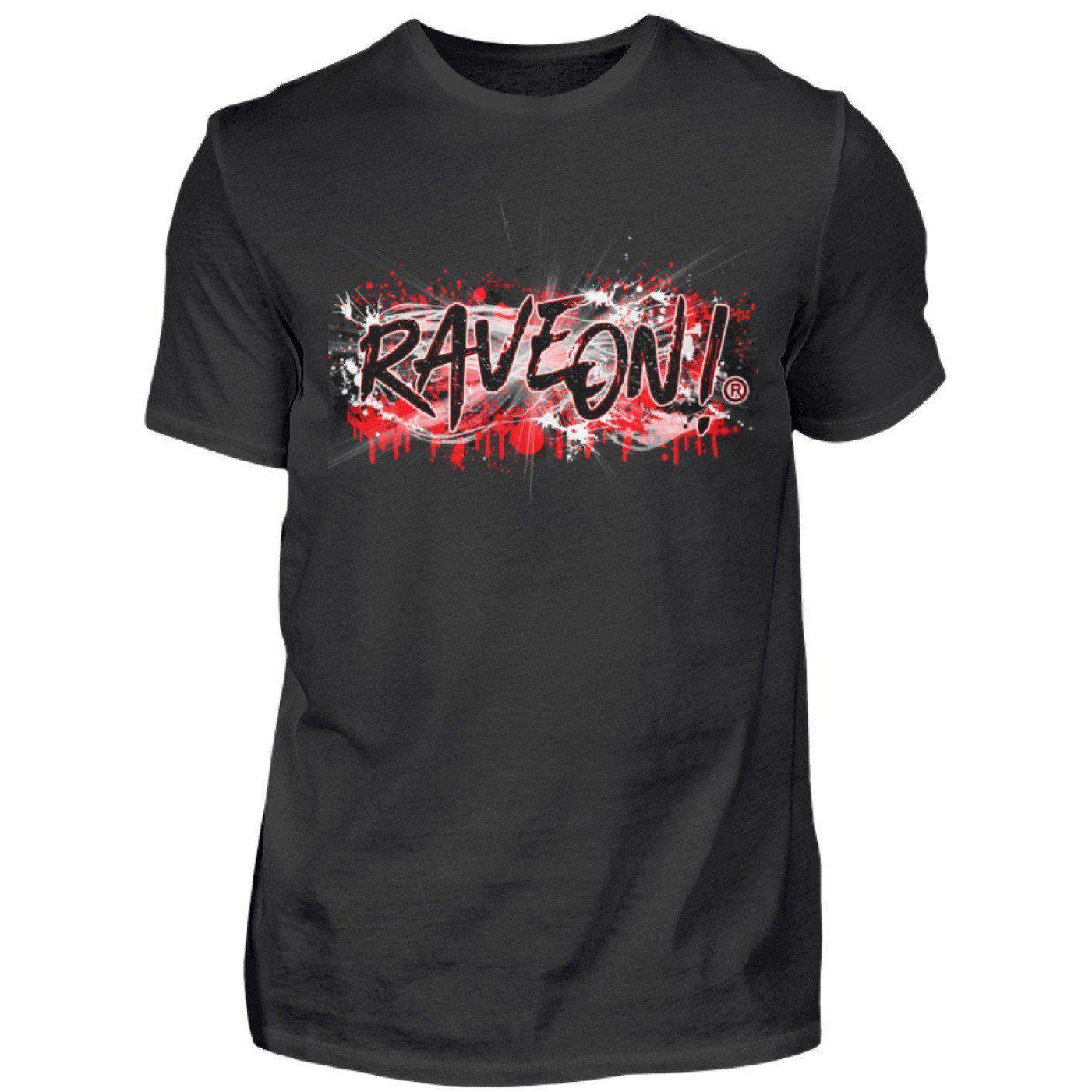Rave On!® Bloody Graffity - Herren Shirt Herren Basic T-Shirt Schwarz / S - Rave On!® der Club & Techno Szene Shop für Coole Junge Mode Streetwear Style & Fashion Outfits + Sexy Festival 420 Stuff