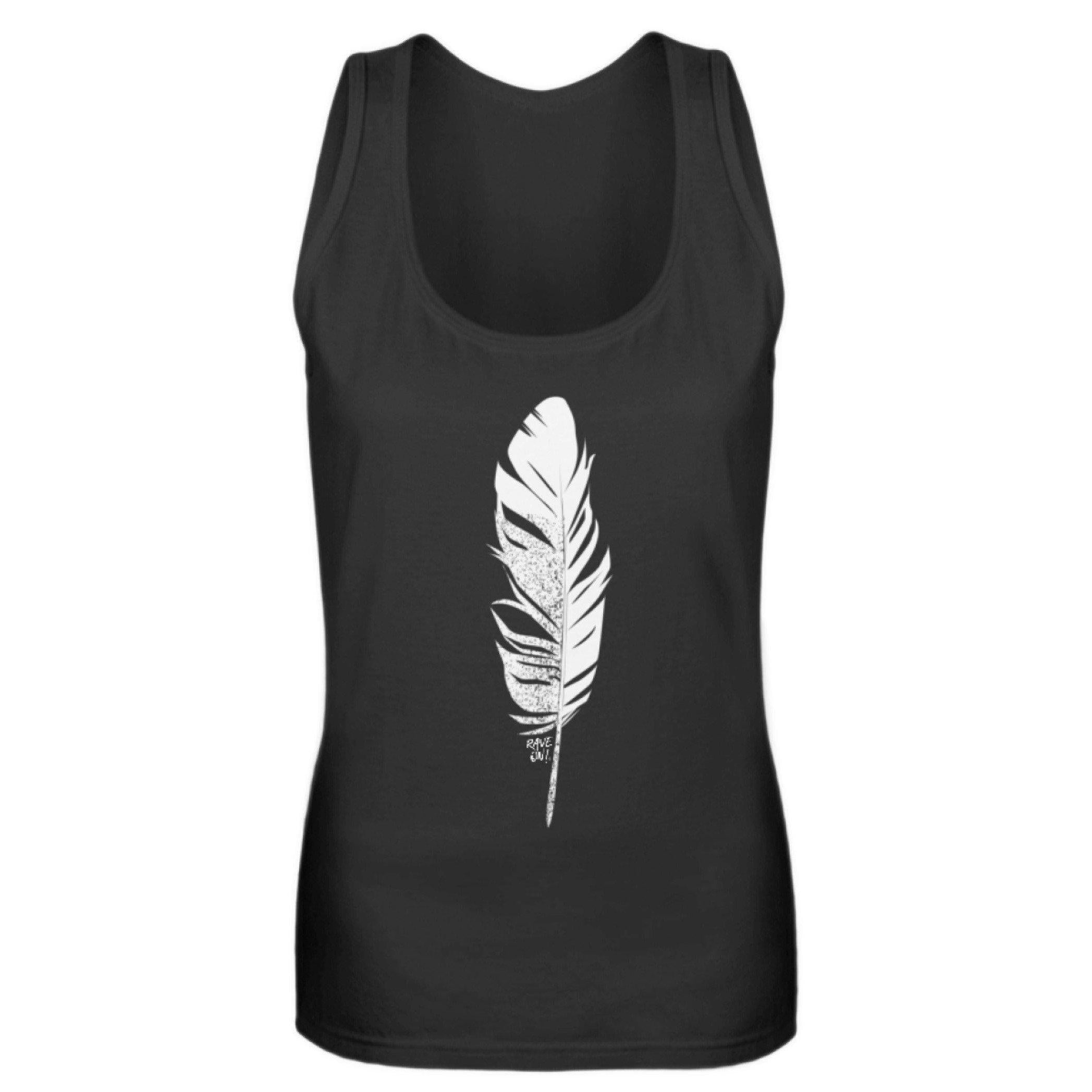 """Raver """"feather"""" Rave On!® - Girls Tanktop Women Tank-Top Black / S - Rave On!® the club & techno scene shop for cool young fashion streetwear style & fashion outfits + sexy festival 420 stuff"""