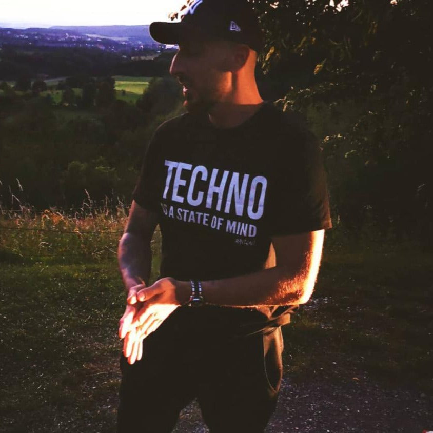 TECHNO IS A STATE OF MIND - Rave On!® - Men Shirt Men Basic T-Shirt - Rave On!® the club & techno scene shop for cool young fashion streetwear style & fashion outfits + sexy festival 420 stuff