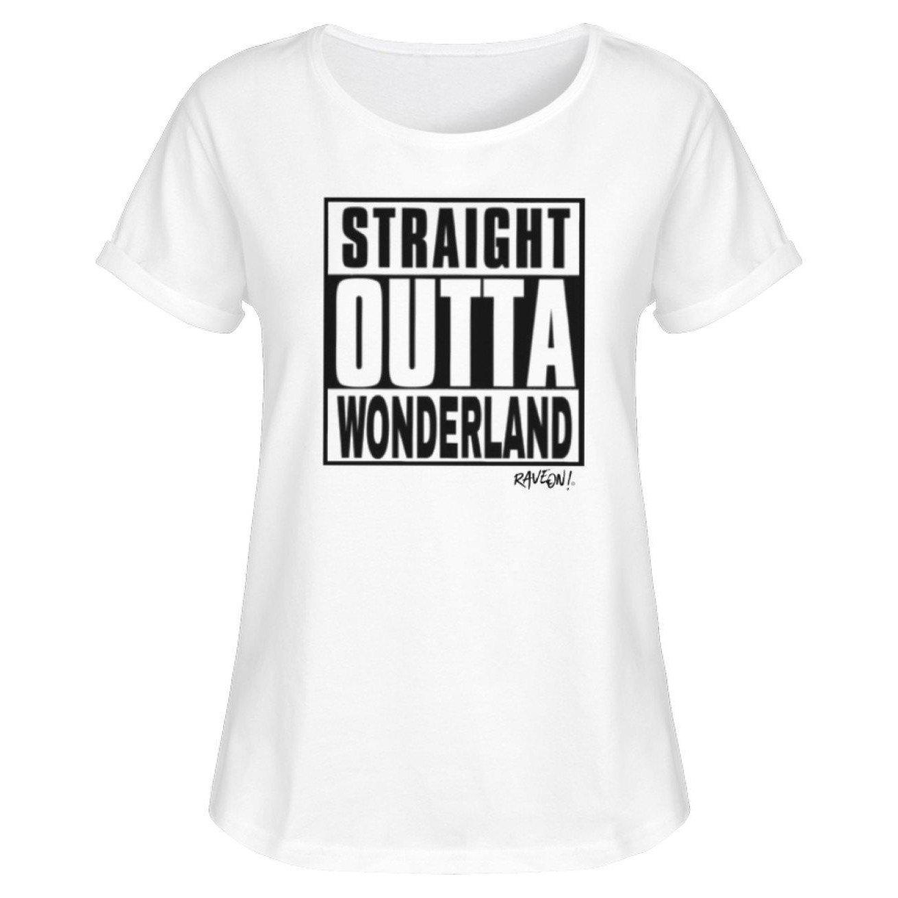 STRAIGHT OUTTA WONDERLAND by Rave On!® - Women RollUp Shirt Women Rollup Shirt White / S - Rave On!® the club & techno scene shop for cool young fashion streetwear style & fashion outfits + sexy festival 420 stuff