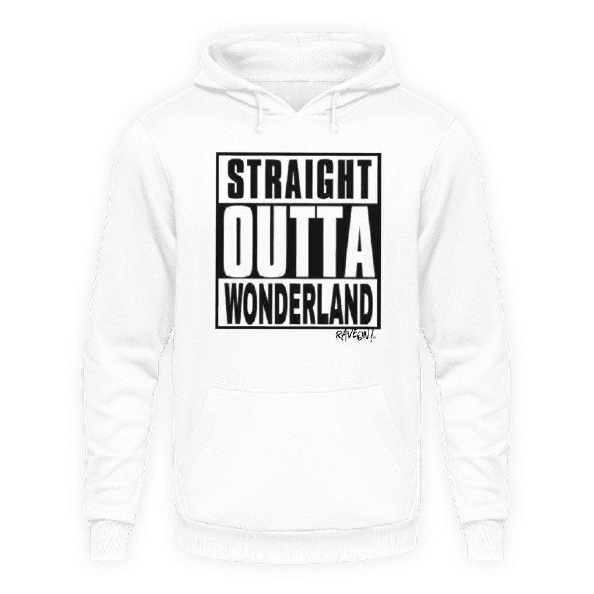 STRAIGHT OUTTA WONDERLAND by Rave On!® - Unisex Hooded Sweater Hoodie Unisex Hoodie Arctic White / L - Rave On!® the club & techno scene shop for cool young fashion streetwear style & fashion outfits + sexy festival 420 stuff