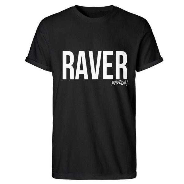"Stylisches ""Raver"" Shirt-Herren Basic T-Shirt-Schwarz-S-Rave-On! I www.rave-on.shop I Deine Rave & Techno Szene Shop I black, cool, cotton, grey, i heart raves, letter, print, rave, rave clothes, rave essentials, rave gear, rave wear, raver, schlicht, schwarz, shirt, t-shirt, t-shirts, top, tshirt, weiß, white - Sexy Festival Streetwear , Clubwear & Raver Style"
