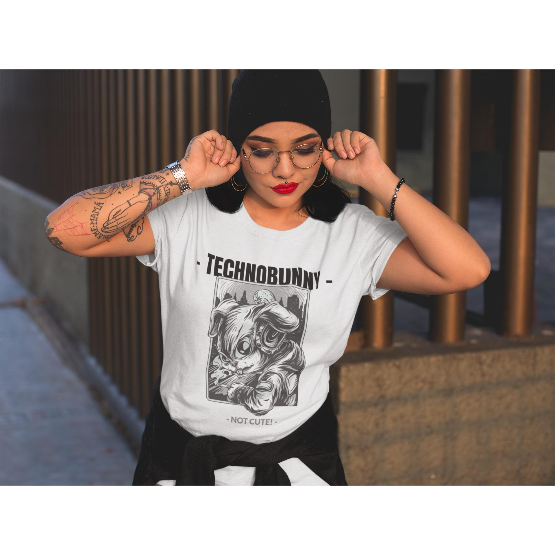 TECHNOBUNNY - Not Cute! - Rave On!® - Damen RollUp Shirt Women Rollup Shirt - Rave On!® der Club & Techno Szene Shop für Coole Junge Mode Streetwear Style & Fashion Outfits + Sexy Festival 420 Stuff