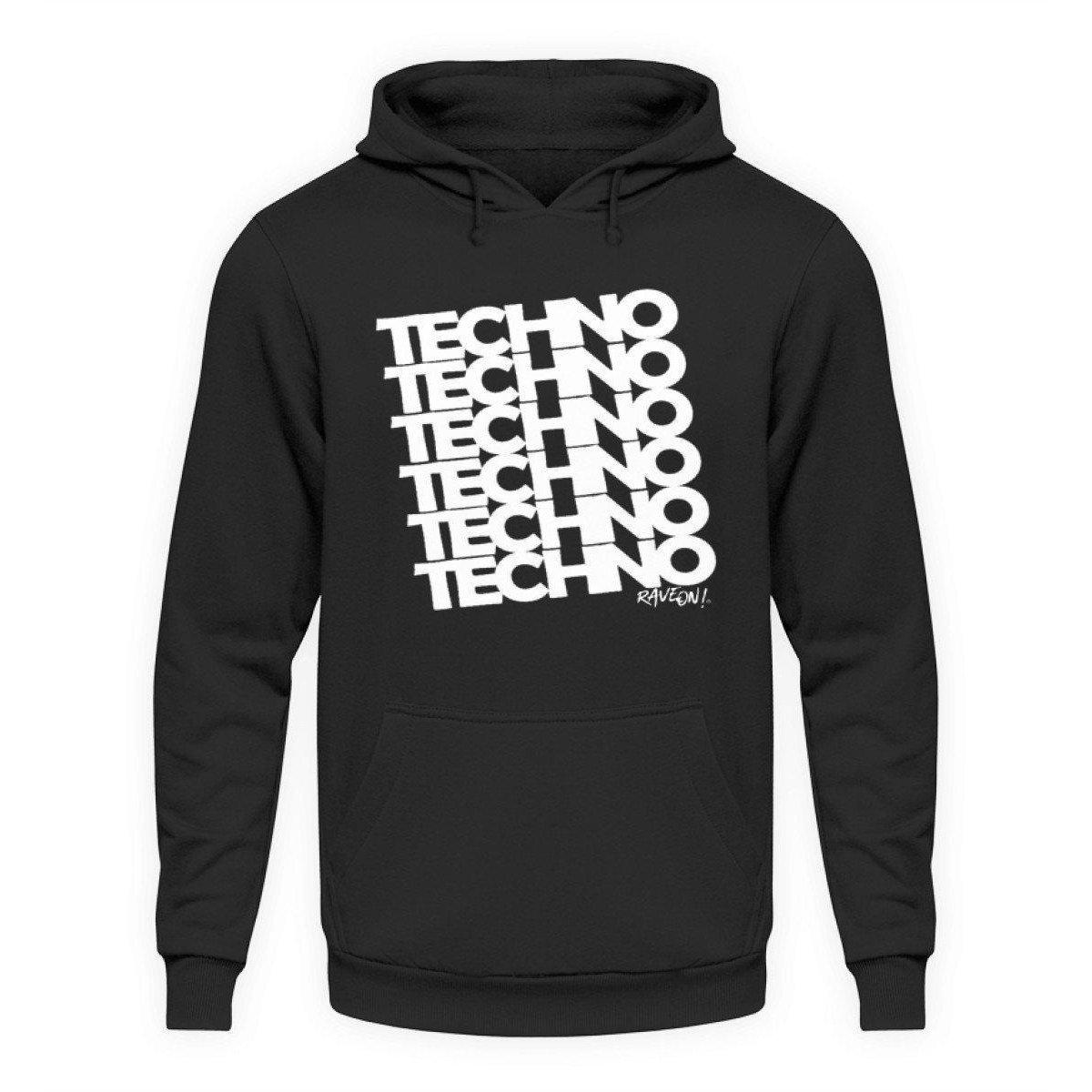 TECHNO 6 Rave ON!® - Unisex Kapuzenpullover Hoodie Unisex Hoodie Jet Schwarz / L - Rave On!® der Club & Techno Szene Shop für Coole Junge Mode Streetwear Style & Fashion Outfits + Sexy Festival 420 Stuff