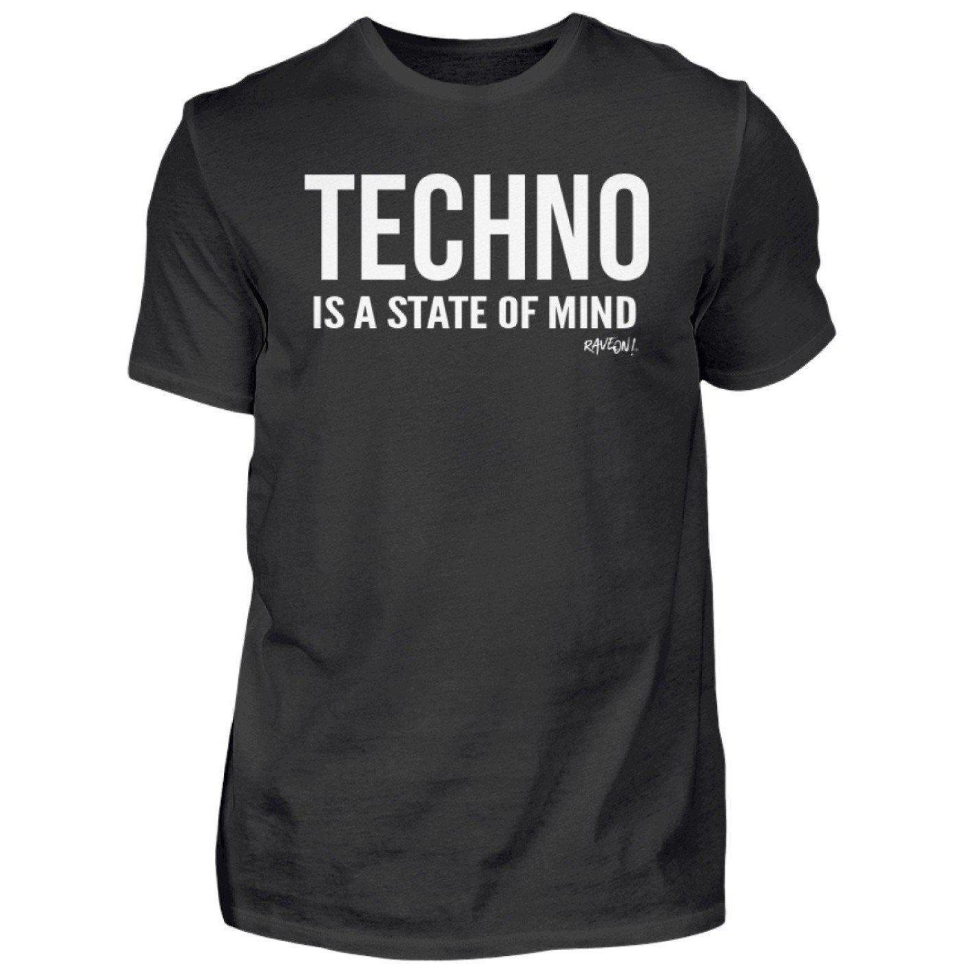 TECHNO IS A STATE OF MIND - Rave On!® - Men Shirt Men Basic T-Shirt S - Rave On!® the club & techno scene shop for cool young fashion streetwear style & fashion outfits + sexy festival 420 stuff