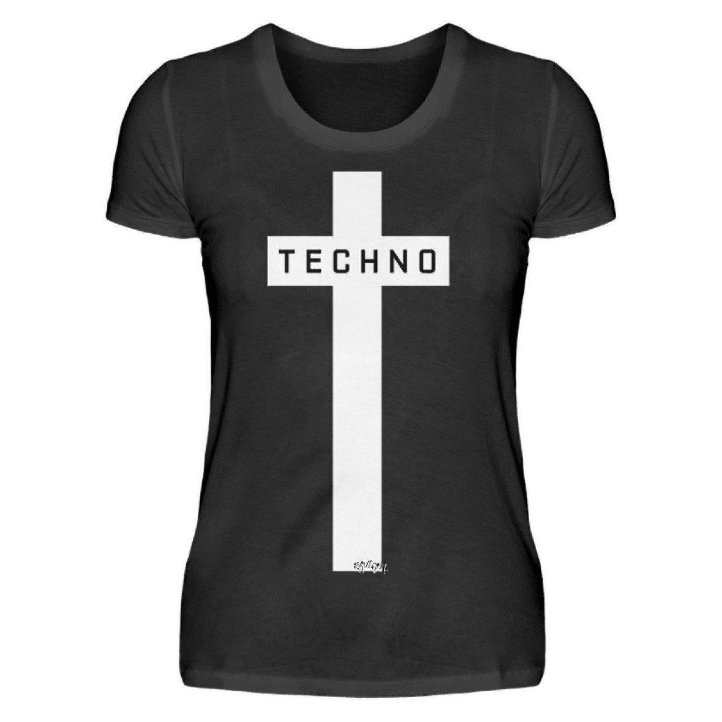 Techno Cross - Rave On!® - Ladies Shirt Ladies Basic T-Shirt Black / S - Rave On!® the club & techno scene shop for cool young fashion streetwear style & fashion outfits + sexy festival 420 stuff