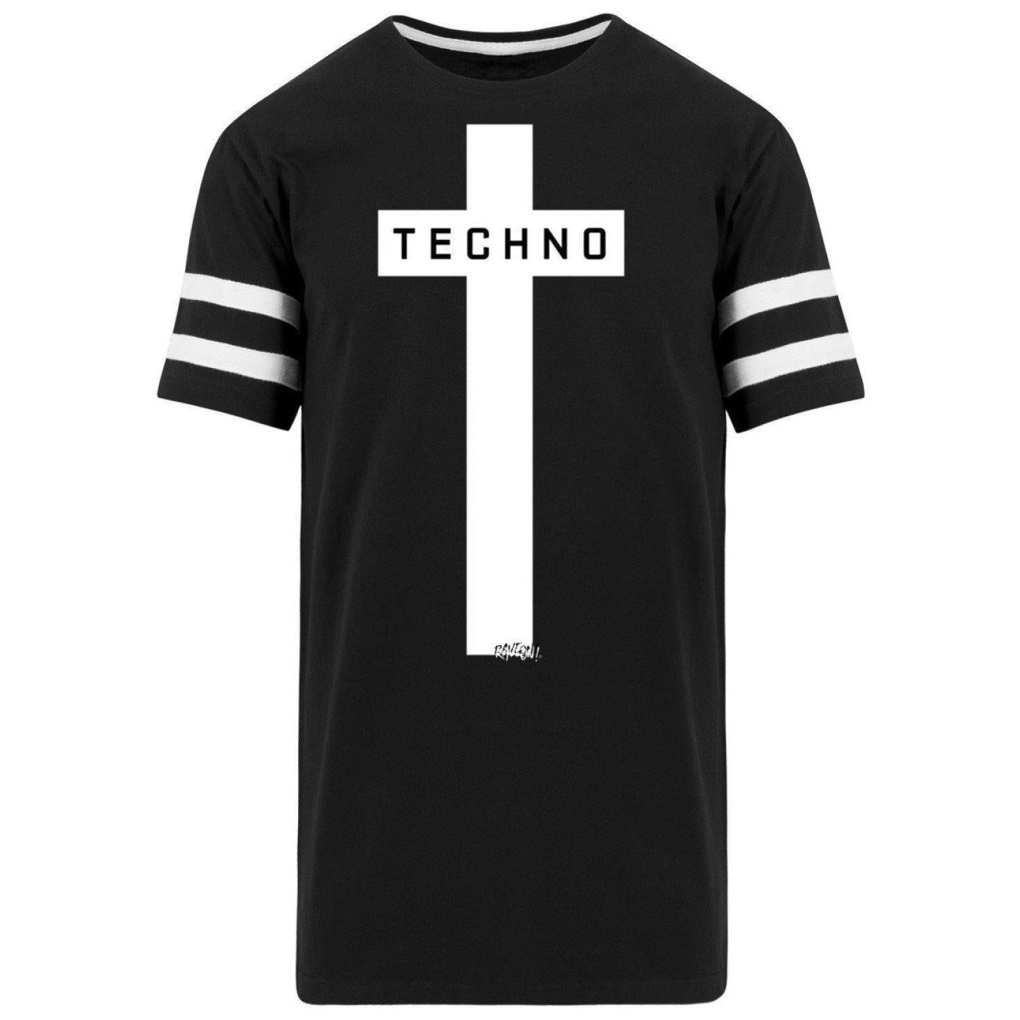 Techno Cross - Rave On!® - Men's Striped Long Shirt Striped Long Shirt Black / S - Rave On!® the club & techno scene shop for cool young fashion streetwear style & fashion outfits + sexy festival 420 stuff