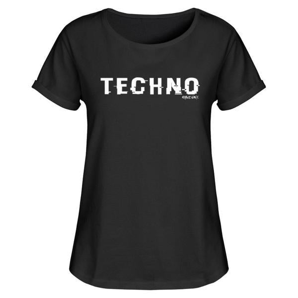 TECHNO shifted Rave On!® - Ladies Shirt Ladies Basic T-Shirt Black / M / Ladies RollUp Shirt - Rave On!® the club & techno scene shop for cool young fashion streetwear style & fashion outfits + sexy festival 420 stuff