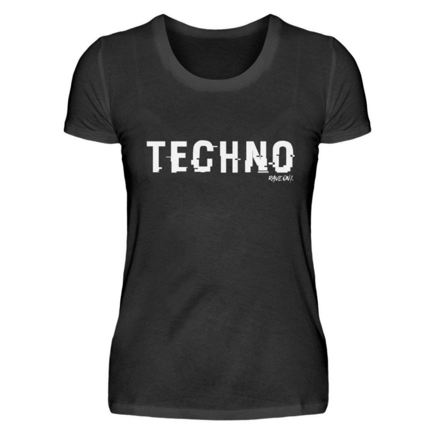 TECHNO shifted Rave On!® - Ladies Shirt Ladies Basic T-Shirt Black / S / Ladies Shirt - Rave On!® the club & techno scene shop for cool young fashion streetwear style & fashion outfits + sexy festival 420 stuff