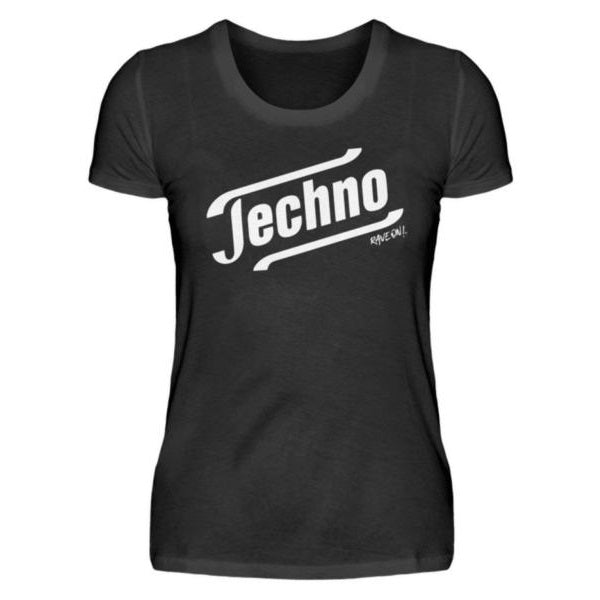 Techno - Tempo Rave On!® T-Shirt - Damenshirt-Damen Basic T-Shirt-Rave-On!-Rave-On!