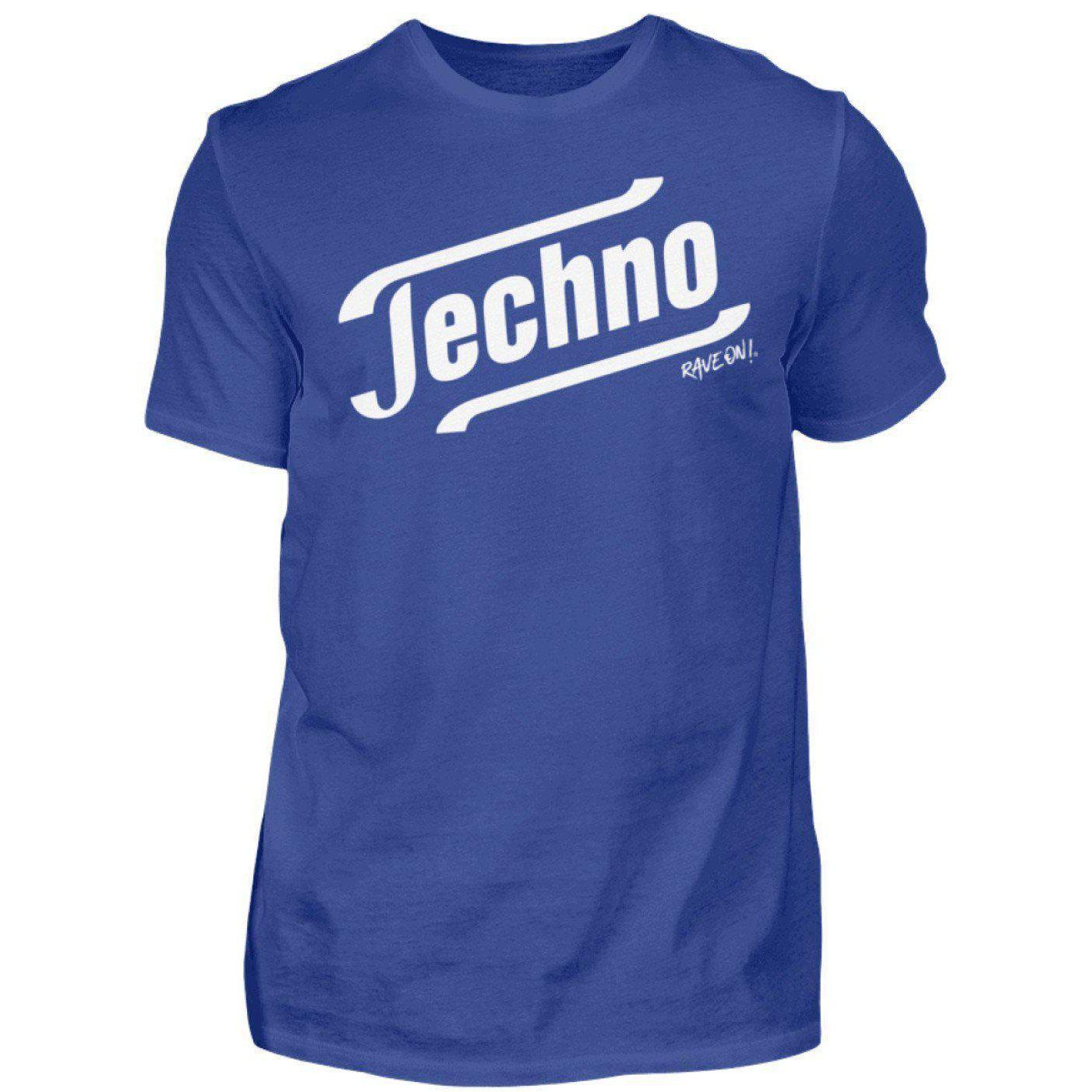 Techno - Tempo Rave On!® T-Shirt - Herren Shirt Herren Basic T-Shirt Royalblau / S - Rave On!® der Club & Techno Szene Shop für Coole Junge Mode Streetwear Style & Fashion Outfits + Sexy Festival 420 Stuff
