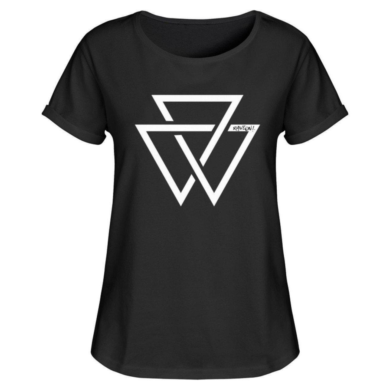 Triangle Rave On!® T-Shirt - Damen RollUp Shirt-Women Rollup Shirt-Schwarz-S-Rave-On! I www.rave-on.shop I Deine Rave & Techno Szene Shop I apparel, cool, dreieck, dreiecke, fresh, funny, girls, i heart raves, ladies, on!®, rave, rave apparel, rave clothes, rave clothing, rave fashion, rave gear, rave on, rave on!®, rave shop, rave t shirt, rave wear, ravebabe, ravegirl, raver, Raver girl, Raver innen, Raver shirt, techno apparel, technobabe, triangle, ® - Sexy Festival Streetwear , Clubwear & Raver Style