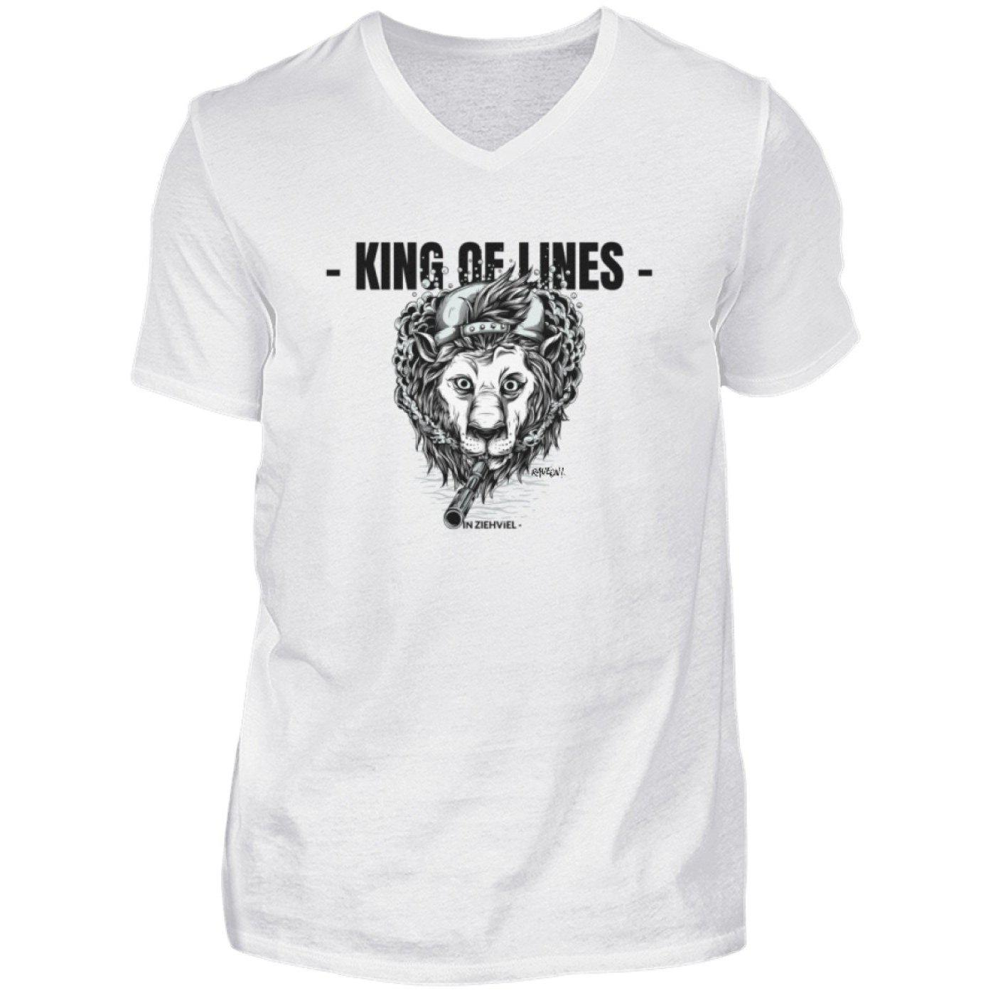 KING OF LINES - Rave On!® - Herren V-Neck Shirt V-Neck Herrenshirt White / S - Rave On!® der Club & Techno Szene Shop für Coole Junge Mode Streetwear Style & Fashion Outfits + Sexy Festival 420 Stuff