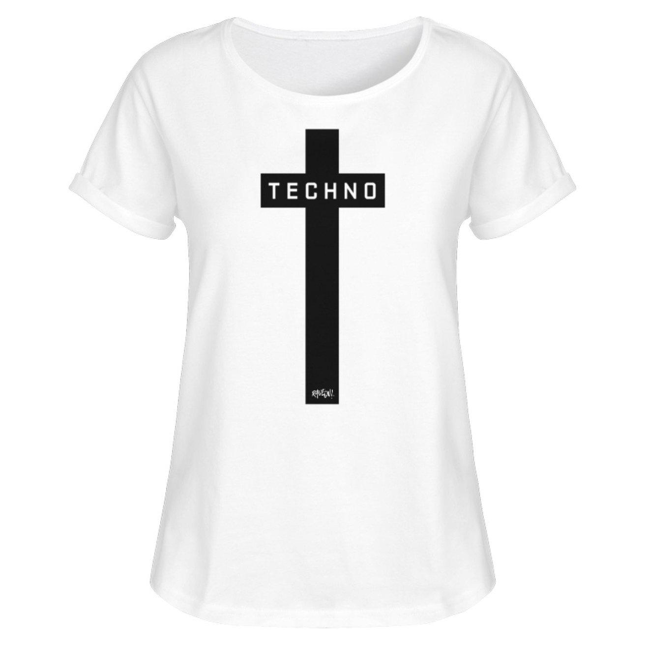 TECHNO Kreuz Black - Rave On!® - Damen RollUp Shirt Women Rollup Shirt White / S - Rave On!® der Club & Techno Szene Shop für Coole Junge Mode Streetwear Style & Fashion Outfits + Sexy Festival 420 Stuff