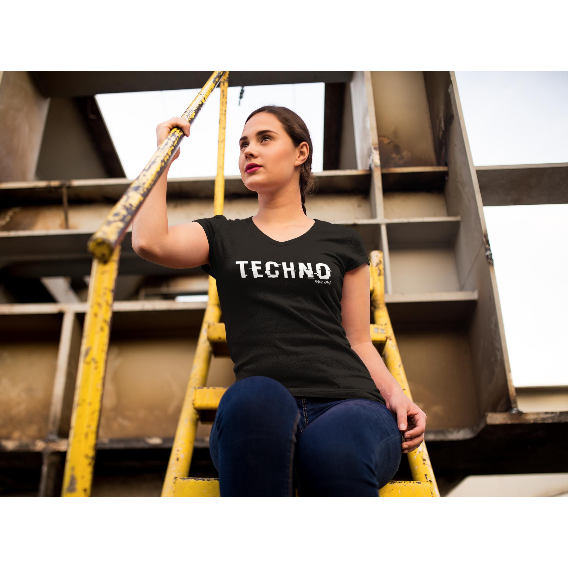 TECHNO shifted Rave On!® - Ladies Shirt Ladies Basic T-Shirt - Rave On!® the club & techno scene shop for cool young fashion streetwear style & fashion outfits + sexy festival 420 stuff