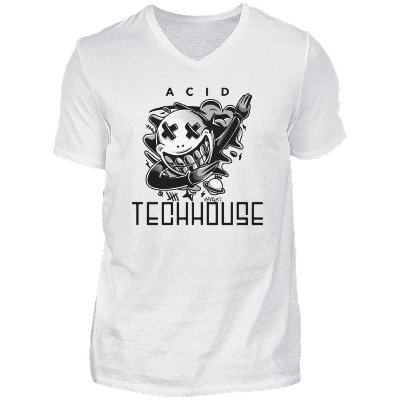 ACID TECHHOUSE - Rave On!® - Herren V-Neck Shirt V-Neck Herrenshirt White / S - Rave On!® der Club & Techno Szene Shop für Coole Junge Mode Streetwear Style & Fashion Outfits + Sexy Festival 420 Stuff