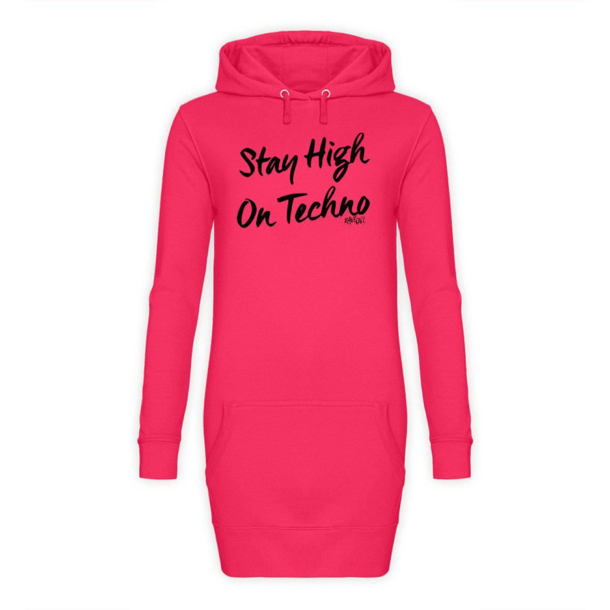 Stay High on Techno - Rave On!® - Damen Hoodie-Kleid Hoodie-Kleid Hot Pink / S - Rave On!® der Club & Techno Szene Shop für Coole Junge Mode Streetwear Style & Fashion Outfits + Sexy Festival 420 Stuff