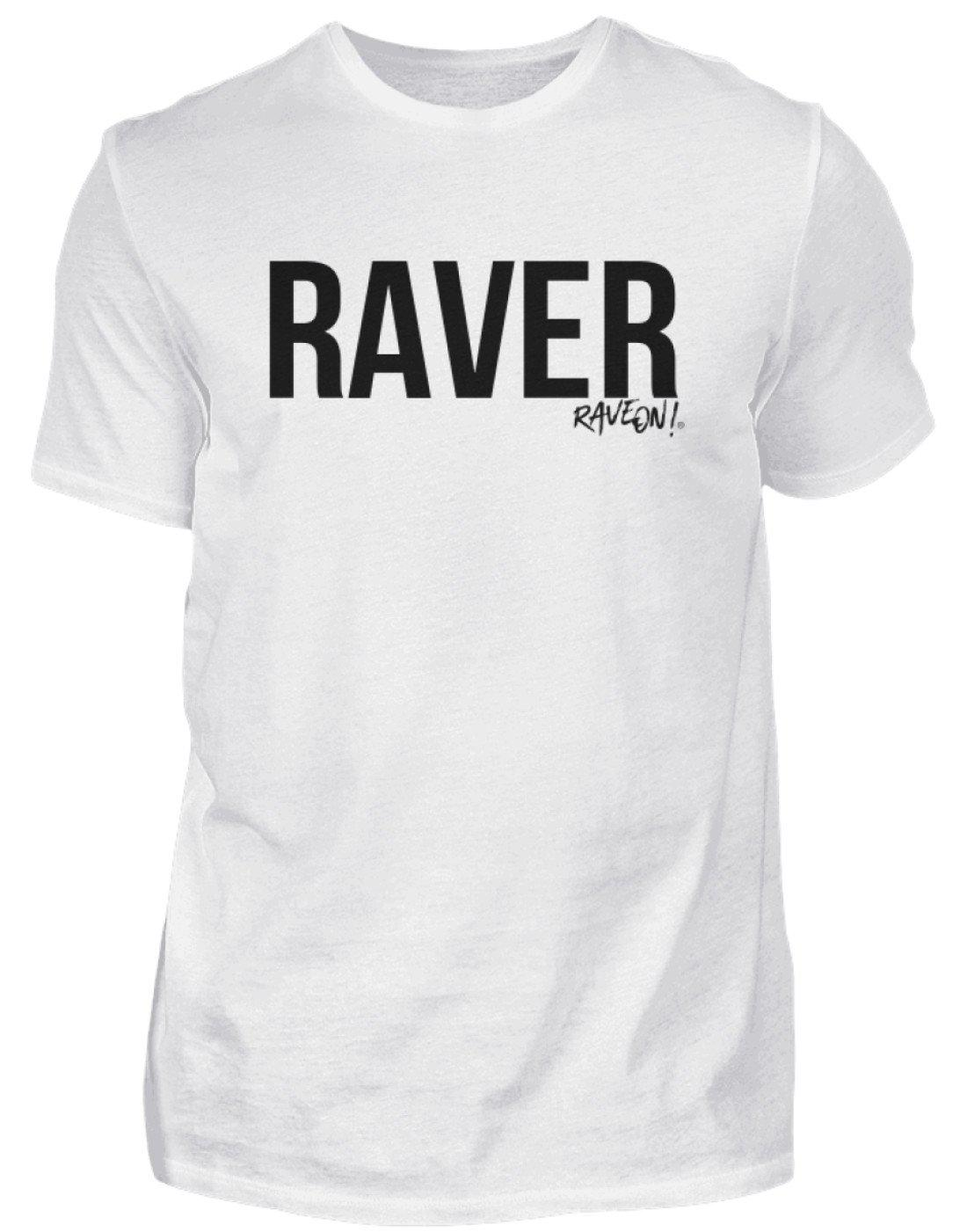 "Stylisches ""Raver"" Shirt-Herren Basic T-Shirt-Weiß-S-Rave-On! I www.rave-on.shop I Deine Rave & Techno Szene Shop I black, cool, cotton, grey, i heart raves, letter, print, rave, rave clothes, rave essentials, rave gear, rave wear, raver, schlicht, schwarz, shirt, t-shirt, t-shirts, top, tshirt, weiß, white - Sexy Festival Streetwear , Clubwear & Raver Style"