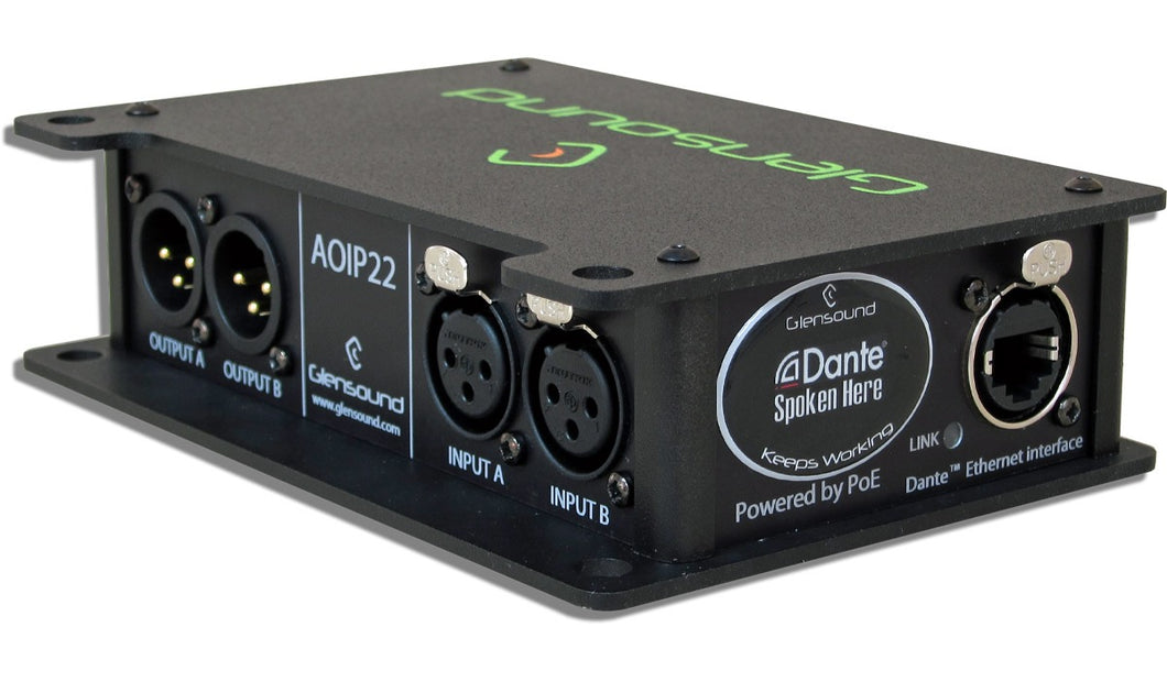 AoIP22 - Dante/ AES67 Robust Location Two Channel Bi-Directional Audio Interface