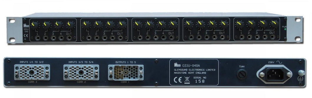 GS-1U040 - 5 off 4 Channel Mixers in 1U