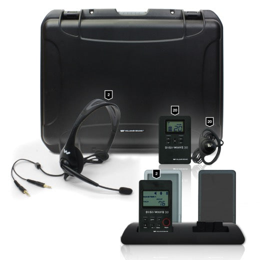 Digi-Wave 300 Series Interpretation System for up to Two Presenters and up to 20 Listeners