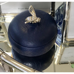 Round Navy Box w/Silver Bee