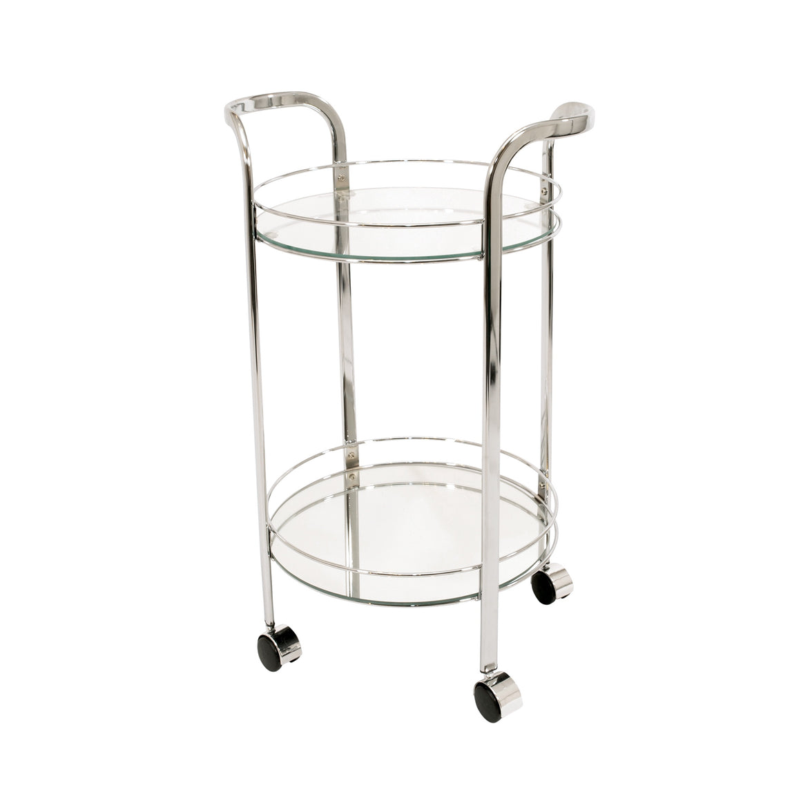 Chrome Bar Trolley Cart - Round Glass