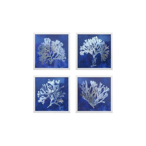 Navy and Silver Coral Wall Art Set of 4