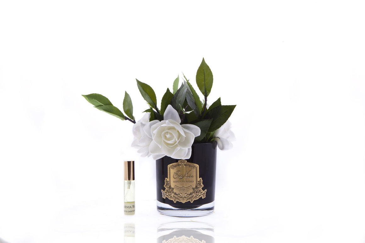 Four Gardenia Flowers Black Vase