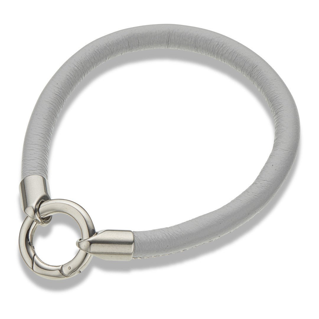 Grey Leather Ring Clasp Bracelet