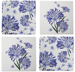 Mauve & White Agapanthas Coasters Set of 4