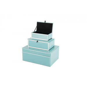 Light Blue Glass Jewellery Box