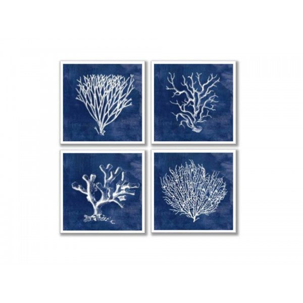 Blue and Silver Coral Wall Art Set of 4