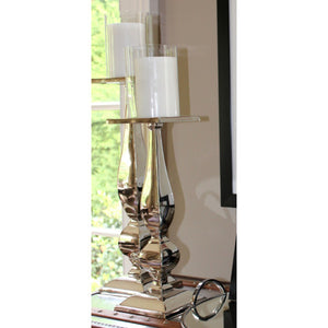 Silver Floor Candlestick w/Glass