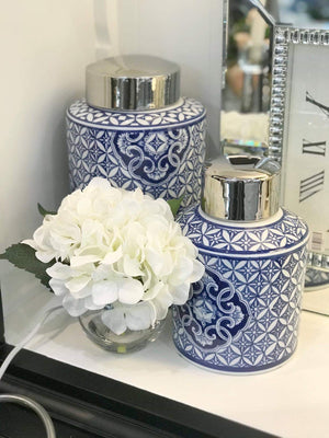 Blue & White Motif Round Jar