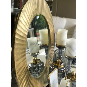 Gold Ridged Round Mirror