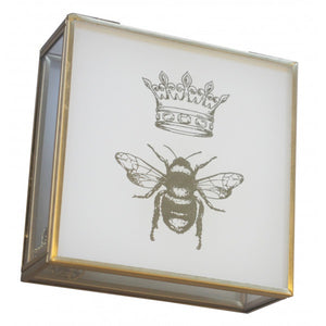 White Glass & Gold Bee Decor Box